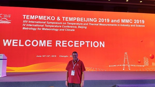 Fluke Calibration Frank Liebmann Posing at the Welcome Reception of Tempmeko 2019